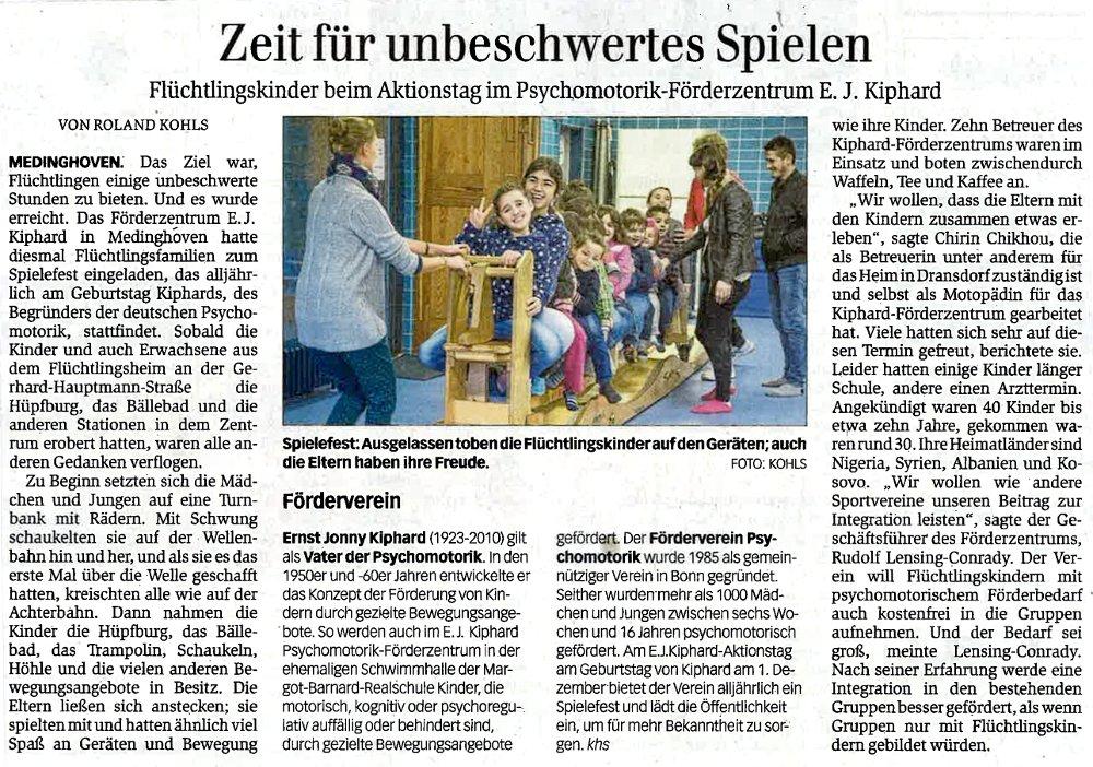 Zeitungsartikel des Genaral Anzeiger Bonn zum Aktionstag Jonny Kiphard 2015